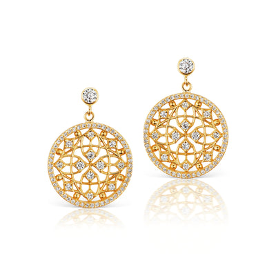 Round Diamond Filigree Celebration Earrings in 18k Yellow Gold