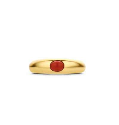 Gold Milano Ring with Oval Coral