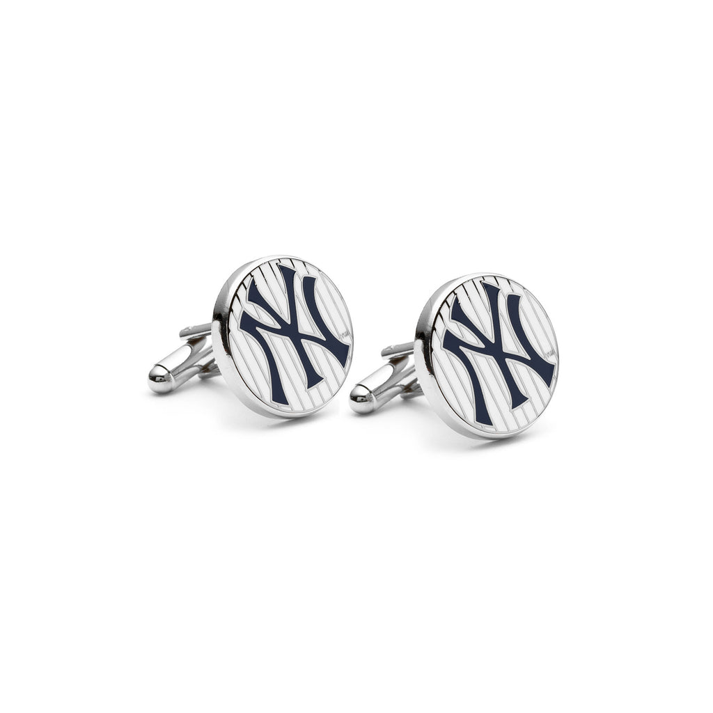 new york yankees baseball logo pinstripe cufflink