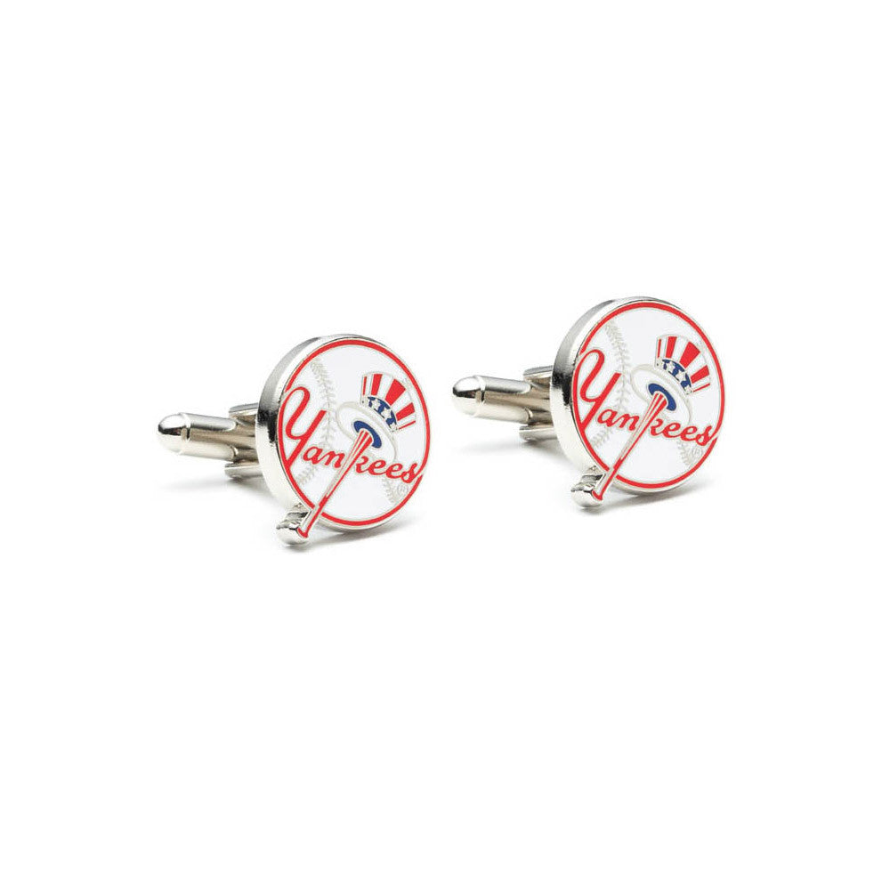 new york yankees retro logo baseball bat hat cufflink