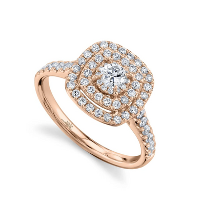 Cushion Double Halo Round Eternal Engagement Ring