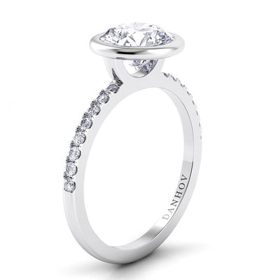 Danhov Per Lei Single Diamond Shank Engagement Ring with Plain Bezel