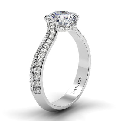 Danhov Classico Knife Edge Engagement Ring with Diamond Accents