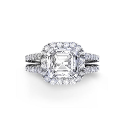 Danhov Carezza Double Shank Asscher Cut Diamond Engagement Ring