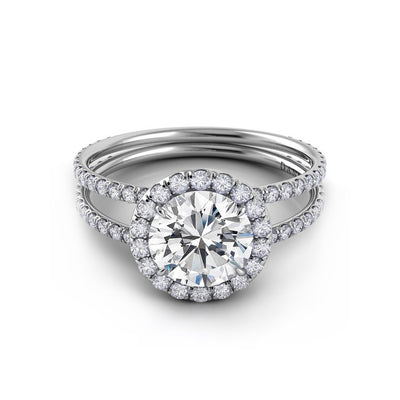 Danhov Solo Filo Double Shank Diamond Engagement Ring with Halo