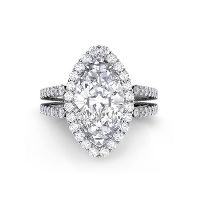 Danhov Carezza Double Shank Marquise Diamond Engagement Ring