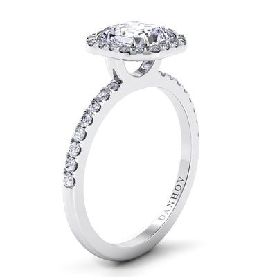 Danhov Per Lei Asscher Cut Diamond Engagement Ring with Halo