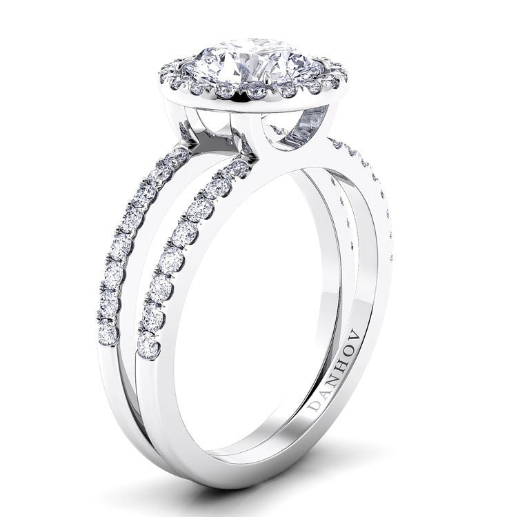 Danhov Diamond Halo Double Shank Engagement Ring