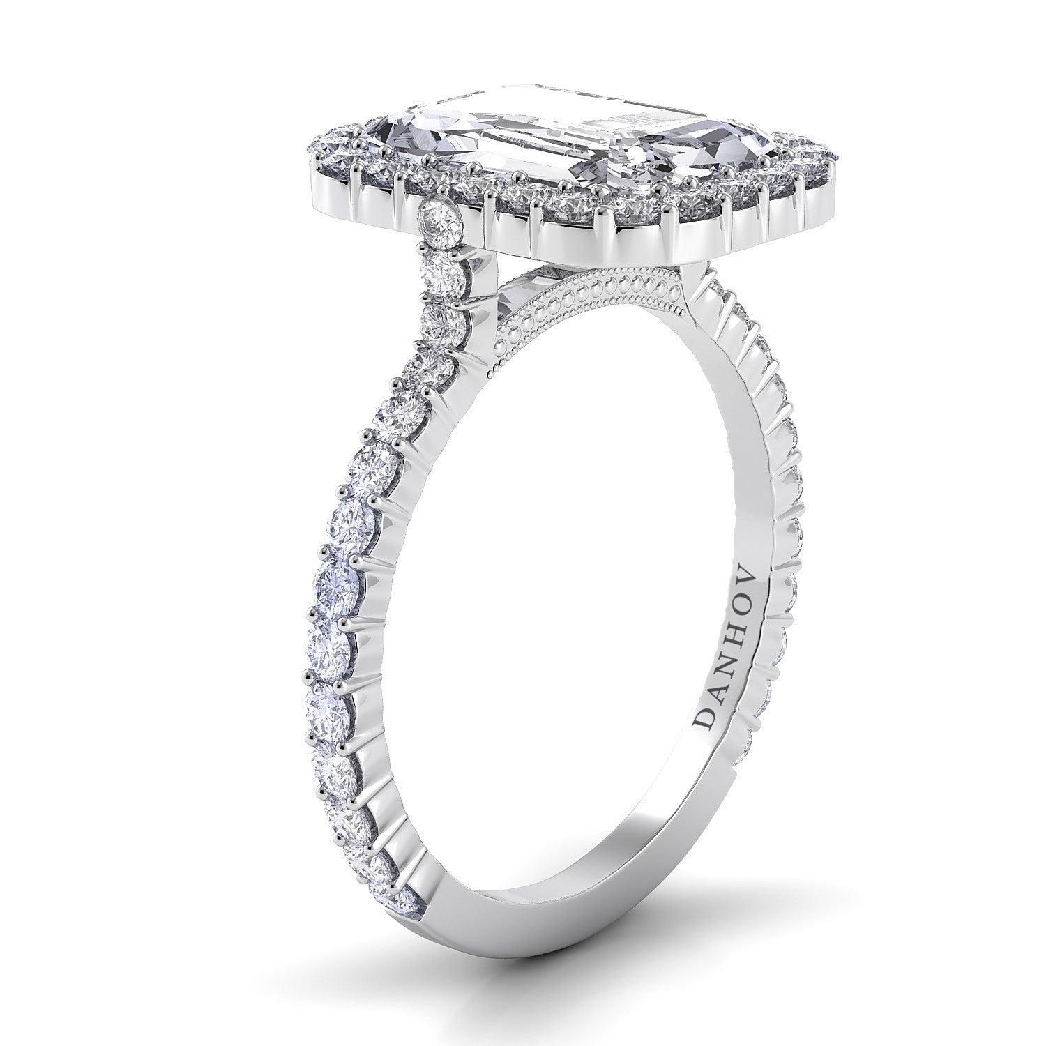 white emerald in pave west east ring rings cut with shank engagement halo gold diamond
