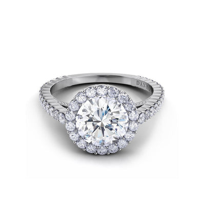 Danhov Carezza Single Shank Diamond Engagement Ring with Halo