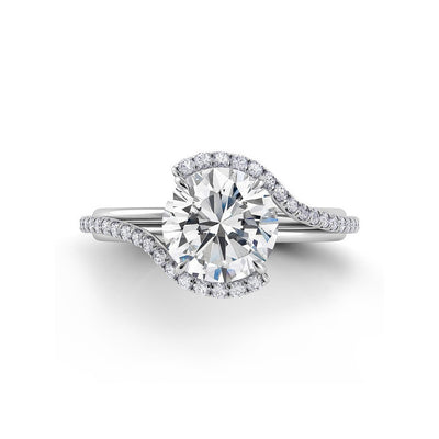 Danhov Abbraccio diamond swirl engagement ring | Top View