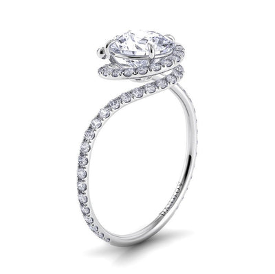 Danhov Abbraccio Swirl Diamond Engagement Ring with Halo