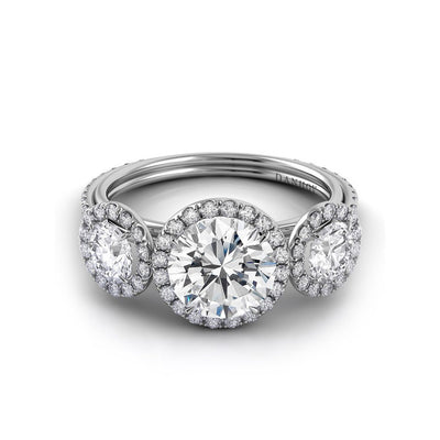 Danhov Per Lei Three Stone Diamond Engagement Ring