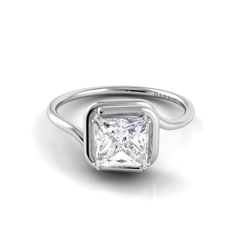 Danhov Abbraccio Swirl Princess Cut Diamond Engagement Ring