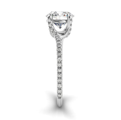 Danhov Eleganza Diamond Embedded Twisted Prong Engagement Ring