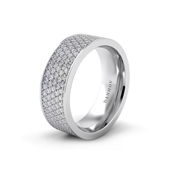 Wide Pave Diamond Wedding Band In Platinum Or White Gold Desires By Mikolay