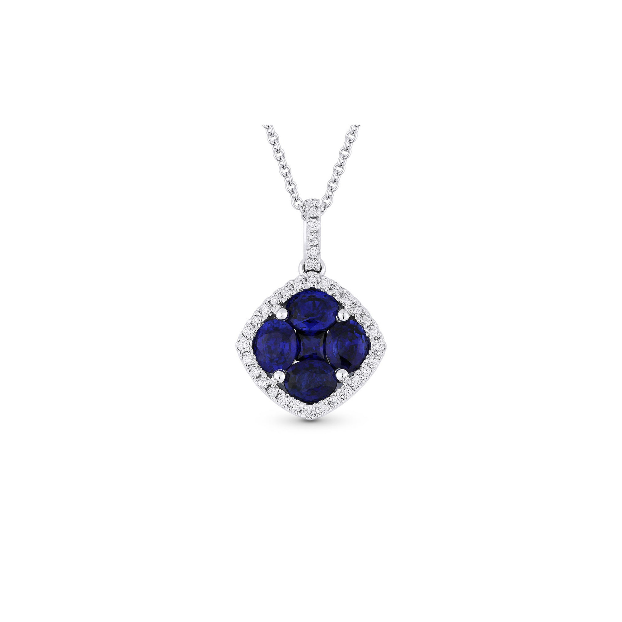 miore brilliant kt gold blue with necklace sapphire cm women diamond amazon dp uk jewellery white co chain cut pendant