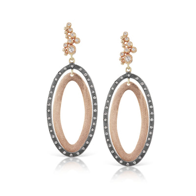 Rene Escobar double oval diamond drop earring rose gold and sterling