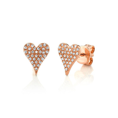 Diamond Pave Heart Stud Earrings