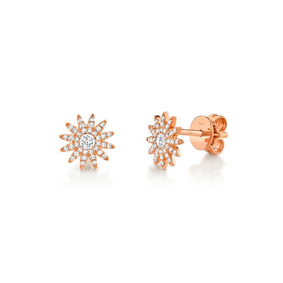 Diamond Pave Sunburst Stud Earrings