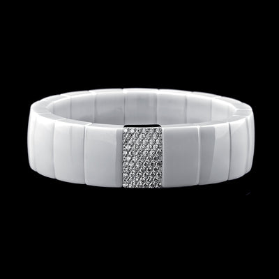 White Ceramic and Diamond Bracelet by Roberto Demeglio