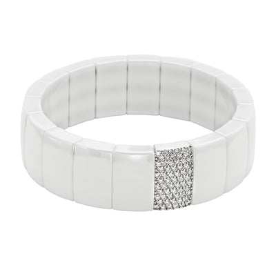 Rectangular White Ceramic Bracelet with Pave White Diamonds