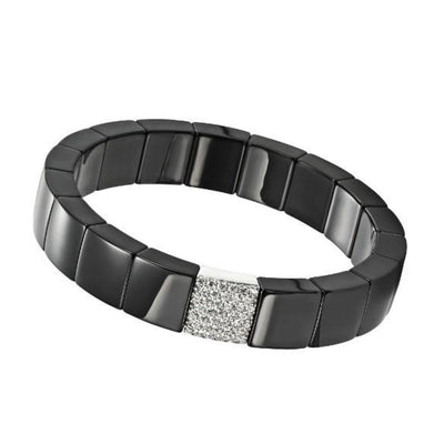 Domino Square White Diamond Black Ceramic Bracelet