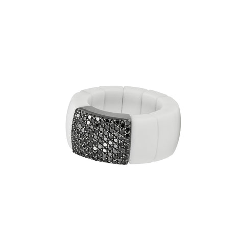 Domino White Ceramic and Black Diamond Ring