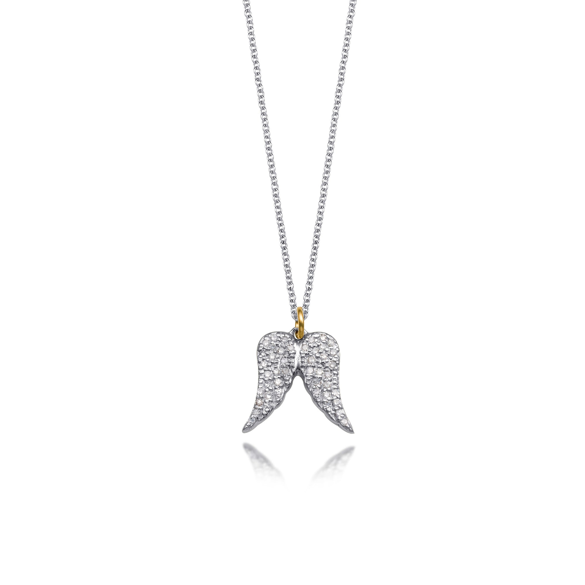 cz double image silver angel necklace wing nomination