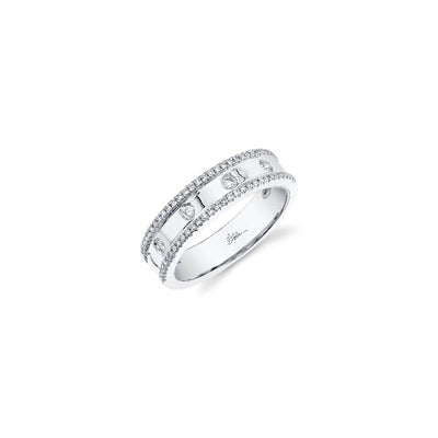 Double Row Half Eternity Ring in White Gold