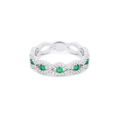 Cats Eye Shape Emerald and Diamond Band Ring