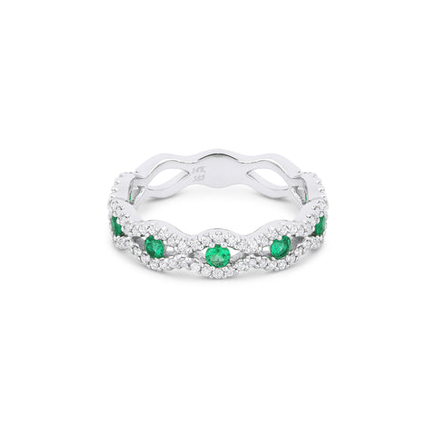 Cats Eye Shape Emerald and Diamond Band