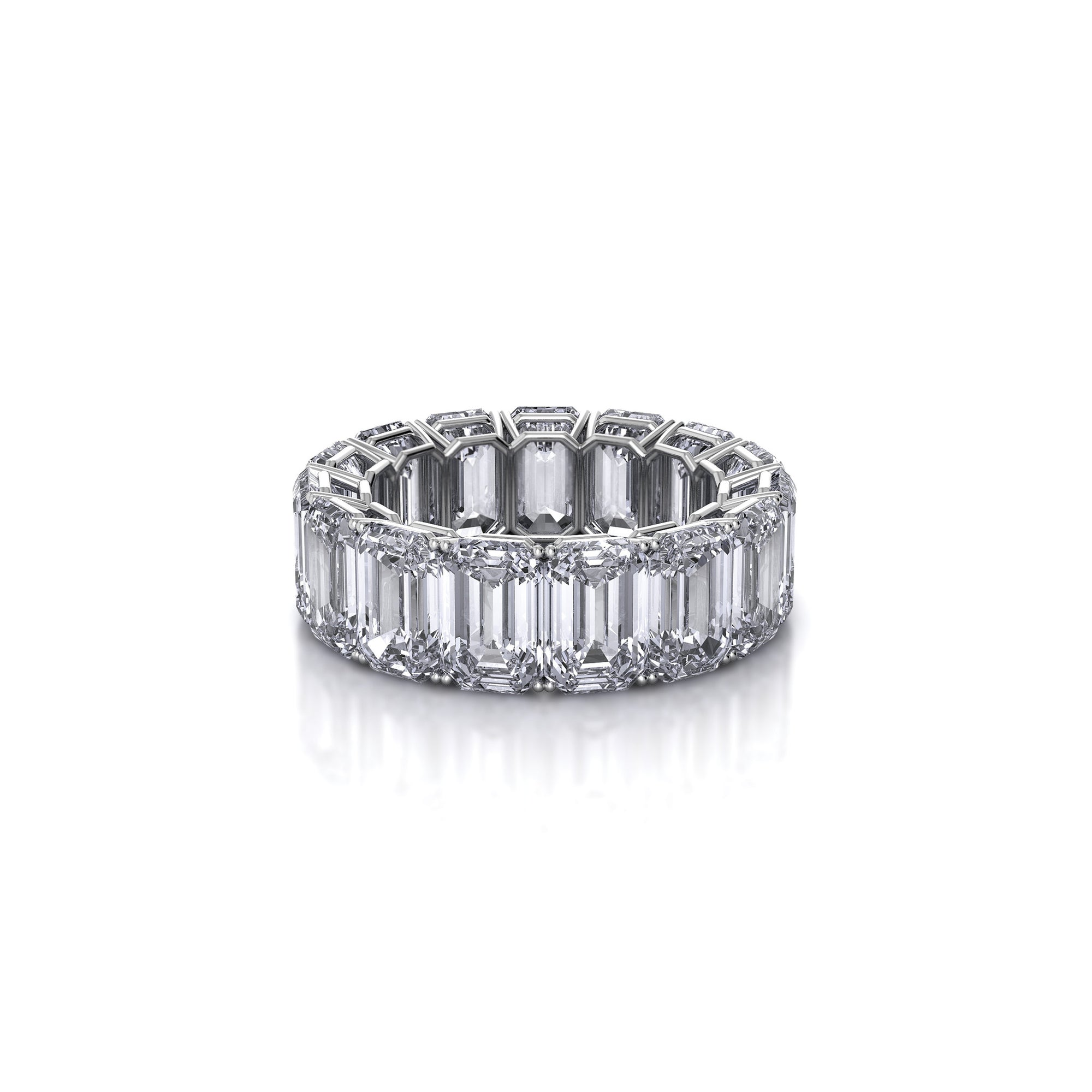 em gold french ring white emerald anniversary diamond cut long s diamonds jewelers eternity bands band new rings