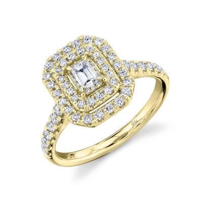 Emerald Cut Double Halo Round Eternal Engagement Ring