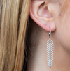 Diamond Feather Dangle Earring in White Gold