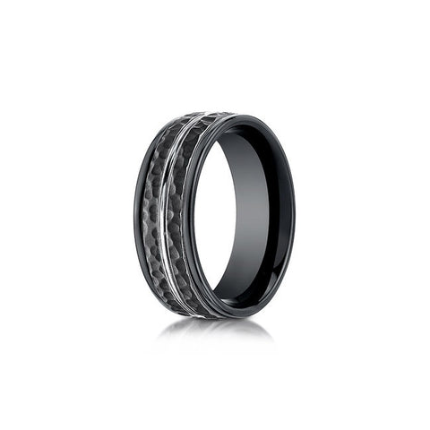 Black Cobalt Hammered Mens Wedding Band