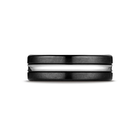Black Cobalt Striped Mens Wedding Band