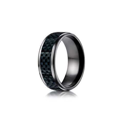 Carbon Fiber Black Titanium Mens Wedding Band