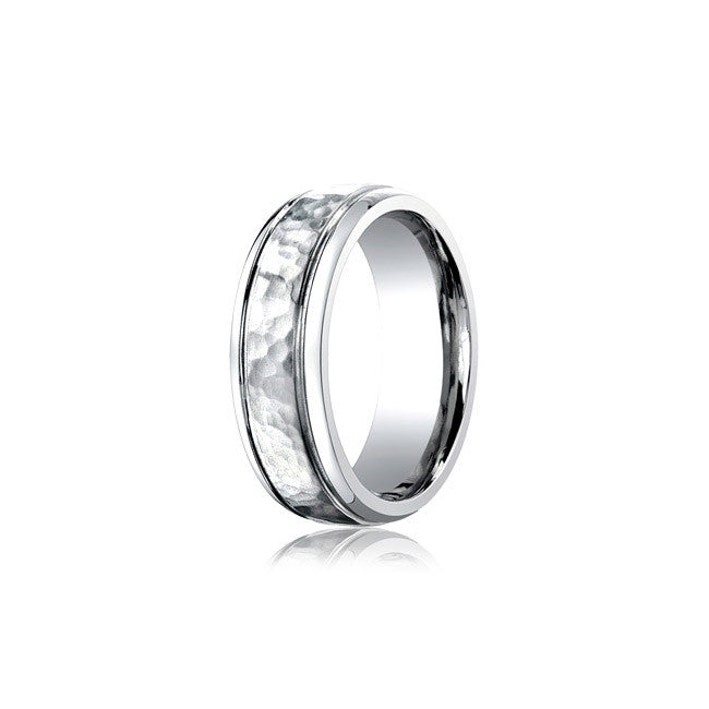 Cobalt Hammered Mens Wedding Band