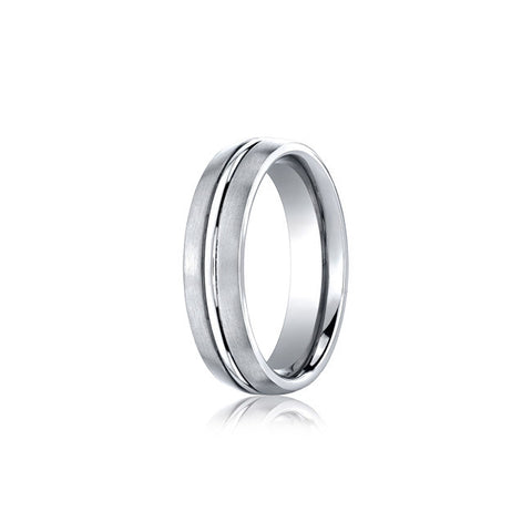 High-Polish Center Cobalt Mens Wedding Band
