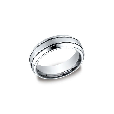 Double Line Cobalt Mens Wedding Band