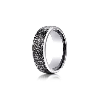 Cobalt Micro Hammered Texture Mens Wedding Band