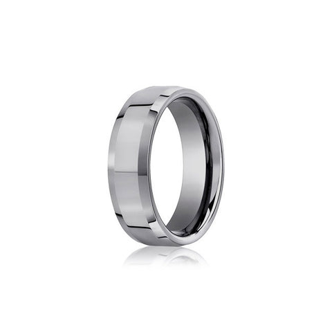Beveled Edge Mens Tungsten Wedding Band