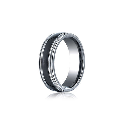 Ceramic Inlay Tungsten Mens Wedding Band