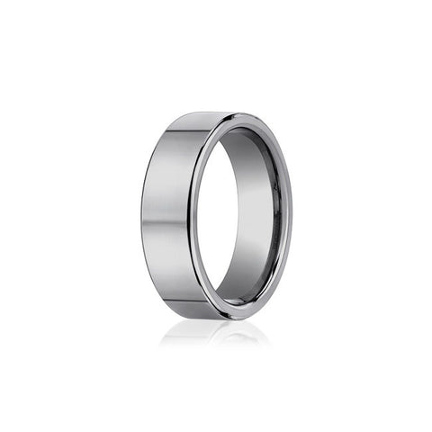 Flat Polished Tungsten Mens Wedding Band