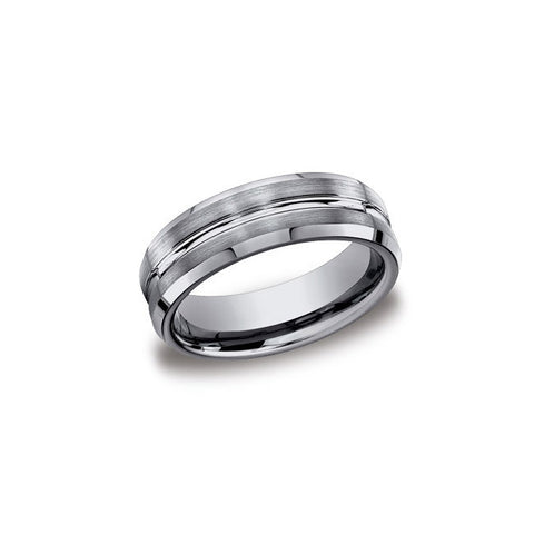 Polished Center Tungsten Mens Wedding Band