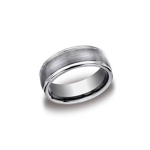 Satin Finish Oxidized Tungsten Mens Wedding Band