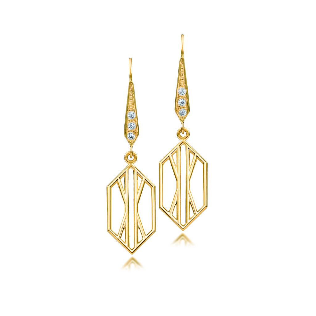 Geometric Gold Art Deco Short Dangle Earring