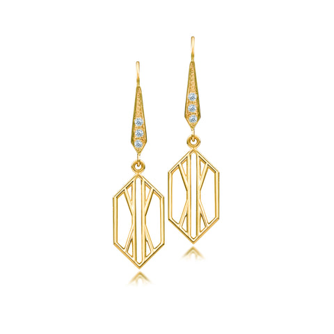 Geometric Gold Deco Short Dangle Earring