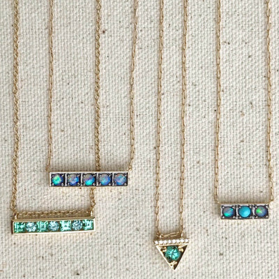 Horizontal Bar Necklace with Mint Green and Blue Tourmaline